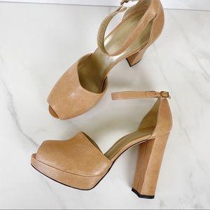 Stuart Weitzman Ankle Strap Platform Peep Toe Heel